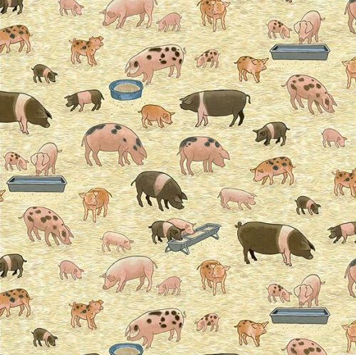 Makower Fabric - Village Life - Pigs - 100% Cotton - 1/4m+
