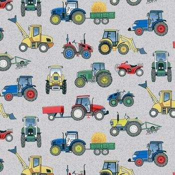 Makower Fabric - Village Life - Tractors - Grey - 100% Cotton - 1/4m+