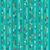 Makower Fabric - Folk Friends - Stripe - Turquoise - 100% Cotton - 1/4m+