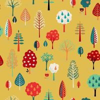 Makower Fabric - Folk Friends - Trees - Mustard - 100% Cotton - 1/4m+