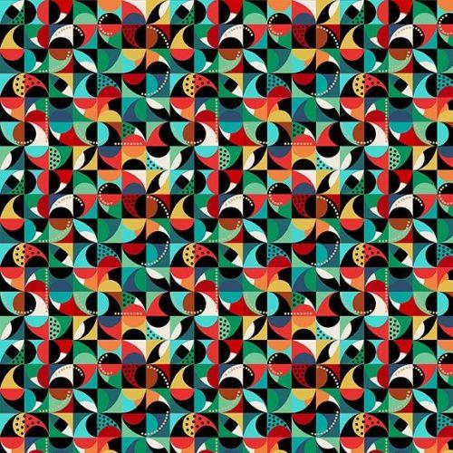 Makower Fabric - Folk Friends - Mosaic - Black - 100% Cotton - 1/4m+