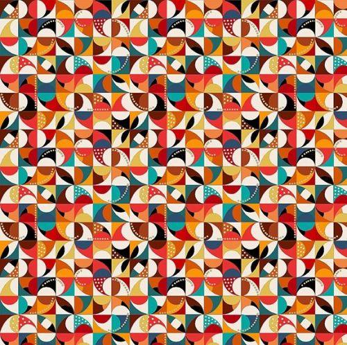 Makower Fabric - Folk Friends - Mosaic - Cream - 100% Cotton - 1/4m+