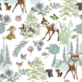 Disney Fabric - Bambi and Friends - Cream - 100% Cotton - 1/4m+