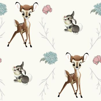 Disney Fabric - Bambi and Thumper Cross - Cream - 100% Cotton - 1/4m+