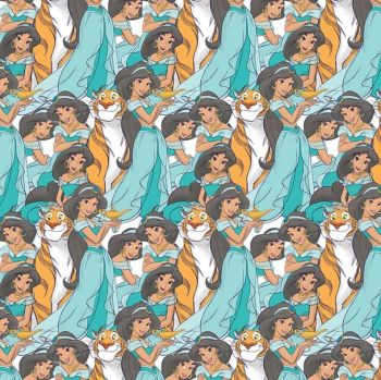 Disney Fabric - Princess Jasmine Packed - 100% Cotton - 1/4m+
