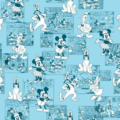 Disney Fabric - Mickey and Friends - Sensational 6 Comic Strip - 100% Cotto