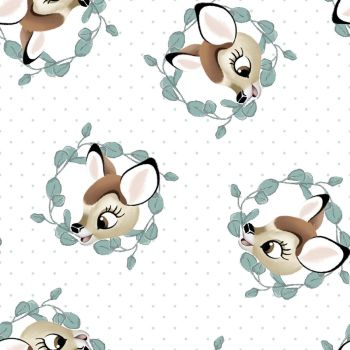 Disney Fabric - Bambi Badges - White - 100% Cotton - 1/4m+
