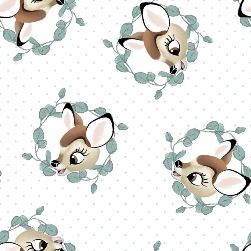 Disney Fabric - Bambi Badges - White - 100% Cotton - 1/4m+
