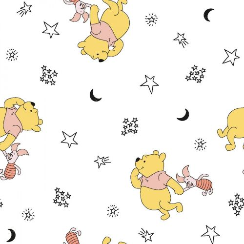 Disney Fabric - Winnie the Pooh - Pooh and Piglet Stars - 100% Cotton - 1/4
