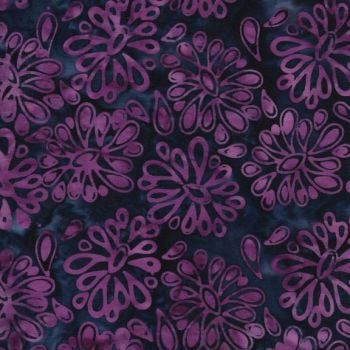 Island Batik Fabric - Pink Flowers - 100% Cotton - 1/4m+