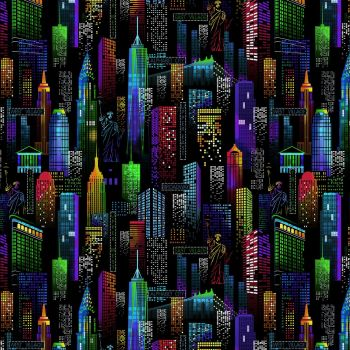 Timeless Treasures Fabric - Bright Lights Big City - 100% Cotton - 1/4m+