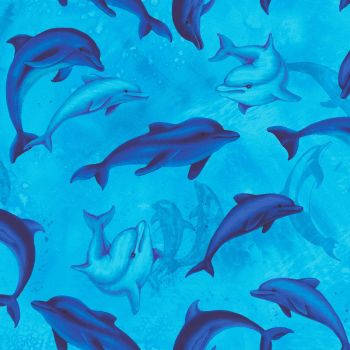 Timeless Treasures Fabric - Ocean Magic - Dolphins - 100% Cotton - 1/4m+