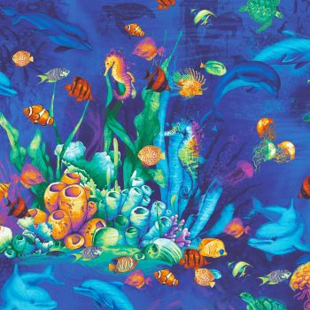 Timeless Treasures Fabric - Ocean Magic - Coral and Sealife - 100% Cotton - 1/4m+