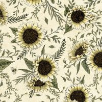Timeless Treasures Fabric - Hive Rules - Sunflowers - Natural - 100% Cotton - 1/4m+