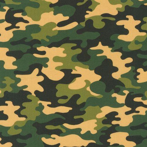 Robert Kaufman Fabric - Green Camo Digital - 100% Cotton - 1/4m+