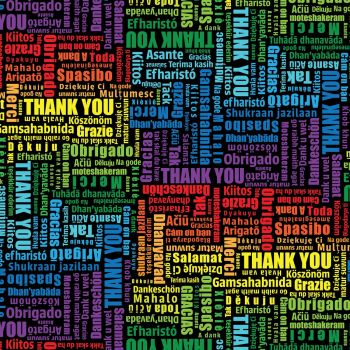 Timeless Treasures Fabric - Everyday Heroes Thank You - Multi Lingual - 100% Cotton - 1/4m+