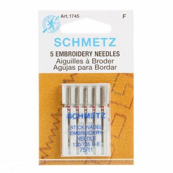 Schmetz Needles - Embroidery Needles - Size 75/11 - Pack of 5