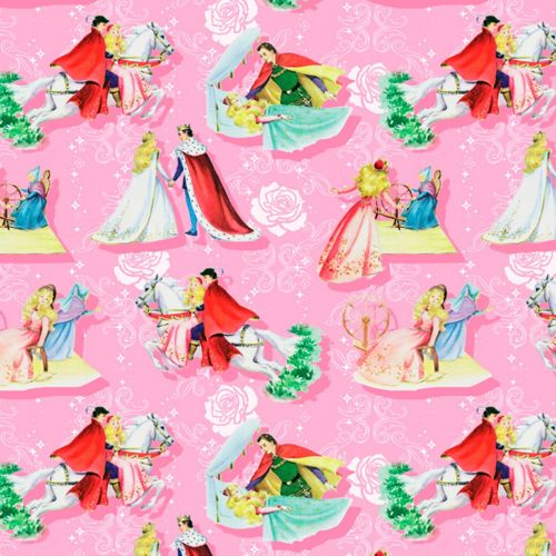 Sleeping Beauty Fabric - Vintage Storybook - Happily Ever After - 100% Cott