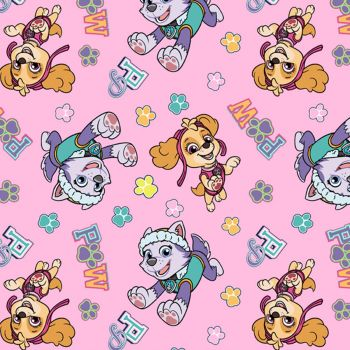Paw Patrol Fabric - Team Skye and Everest - Pink - 100% Cotton - 1/4m+