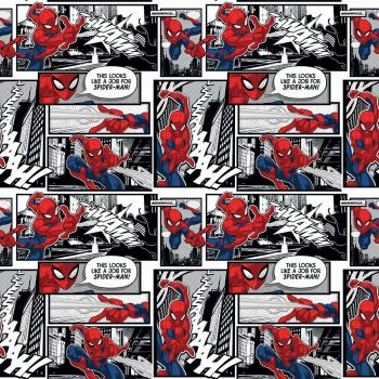 Marvel Fabric - Spiderman Comic Packed - 100% Cotton - 1/4m+
