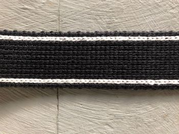 Webbing - Cotton Acrylic - Black White - 30mm Wide - Metre