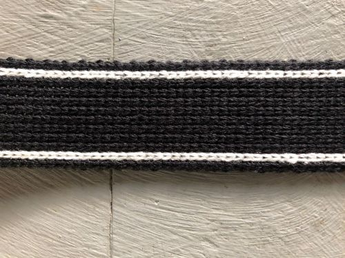 Webbing - Cotton Acrylic - Black White - 30mm Wide - Metre