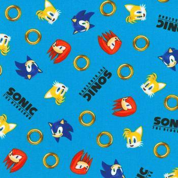 Sonic The Hedgehog Fabric - Sega - Blue Rings - 100% Cotton - 1/4m+