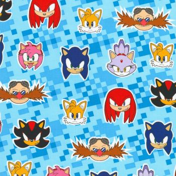 Sonic The Hedgehog Fabric - Sega - Sonic Friends - 100% Cotton - 1/4m+