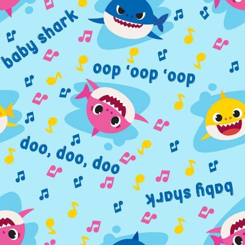 Baby Shark Fabric Doo Doo Doo - Music Toss - Blue - 100% Cotton - 1/4m+