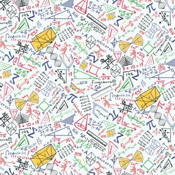 Timeless Treasures Fabric - Maths and Science - Maths Equations White - 100% Cotton - 1/4m+