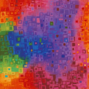 Timeless Treasures Fabric - Awaken Bright Retro Squares - Digital - 100% Cotton - 1/4m+