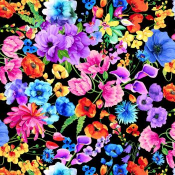 Timeless Treasures Fabric - Day Dreaming - Garden Floral - Black - 100% Cotton - 1/4m+