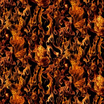 Timeless Treasures Fabric - Fire / Flames - Black - 100% Cotton - 1/4m+