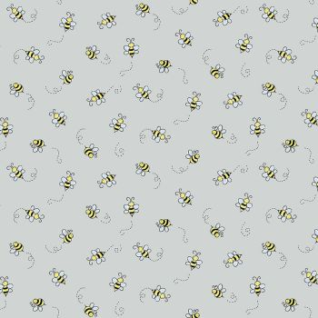Andover Fabric - Bumble Bee - Light Grey - 100% Cotton - 1/4m+