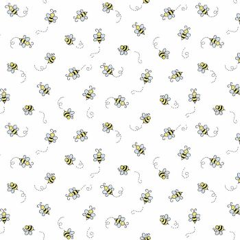 Andover Fabric - Bumble Bee - White - 100% Cotton - 1/4m+