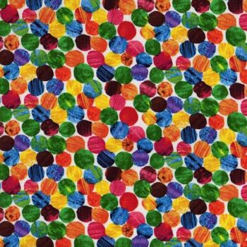 The Very Hungry Caterpillar Fabric - Dense Spots - White - 100% Cotton - 1/4m+