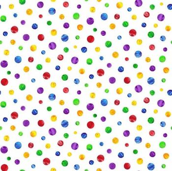 The Very Hungry Caterpillar Fabric - Spaced Spots - White - 100% Cotton - 1/4m+