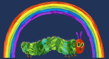 The Very Hungry Caterpillar Fabric - Rainbow Panel - 100% Cotton