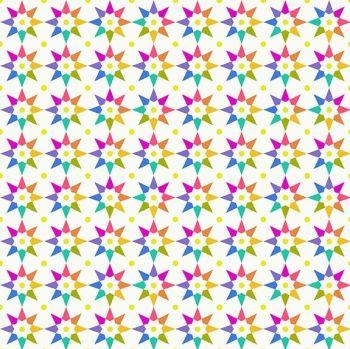 Andover Fabric - Alison Glass - Art Theory - Rainbow Stars - Day - 100% Cotton - 1/4m+