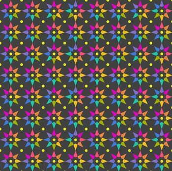 Andover Fabric - Alison Glass - Art Theory - Rainbow Stars - Night - 100% Cotton - 1/4m+