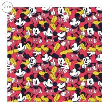 Disney Fabric - Wide Organic Cotton Poplin - Mickey Mouse Packed - Red - 150cm wide - Half Metre