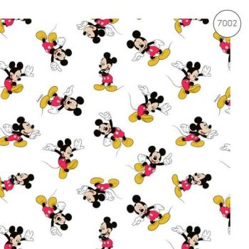 Disney Fabric - Wide Organic Cotton Poplin - Mickey Mouse Scattered - White - 150cm wide - Half Metre