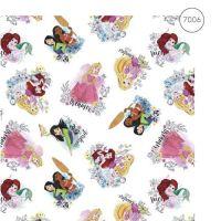 Disney Fabric - Wide Organic Cotton Poplin - Princesses - White - 150cm wide - Half Metre