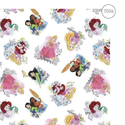 Disney Fabric - Wide Cotton Poplin - Princesses - White - 150cm wide - Half