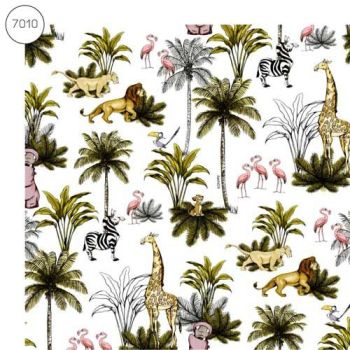 Disney Fabric - Wide Organic Cotton Poplin - Lion King - White - 150cm wide - Half Metre
