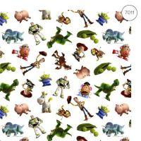 Disney Fabric - Wide Organic Cotton Poplin - Toy Story - White - 150cm wide - Half Metre
