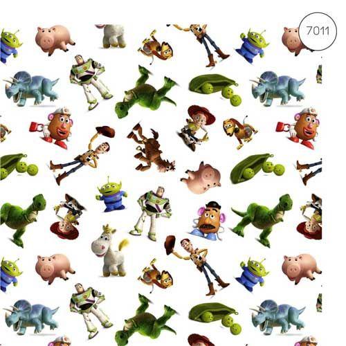 Disney Fabric - Wide Cotton Poplin - Toy Story - White - 150cm wide - Half