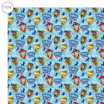 Paw Patrol Fabric - Wide Organic Cotton Poplin - Blue - 150cm wide - Half Metre