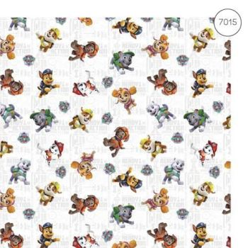 Paw Patrol Fabric - Wide Organic Cotton Poplin - White - 150cm wide - Half Metre