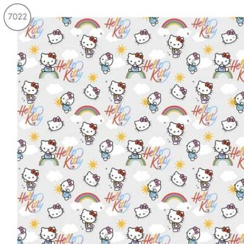 Hello Kitty Fabric - Wide Organic Cotton Poplin - Grey - 150cm wide - Half Metre